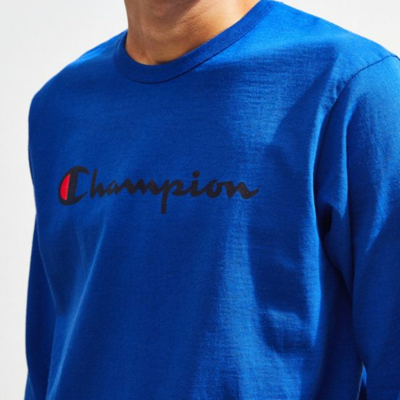 948d623c Champion Shirts | Mens Script Logo Long Sleeve Tee Royal | Poshmark
